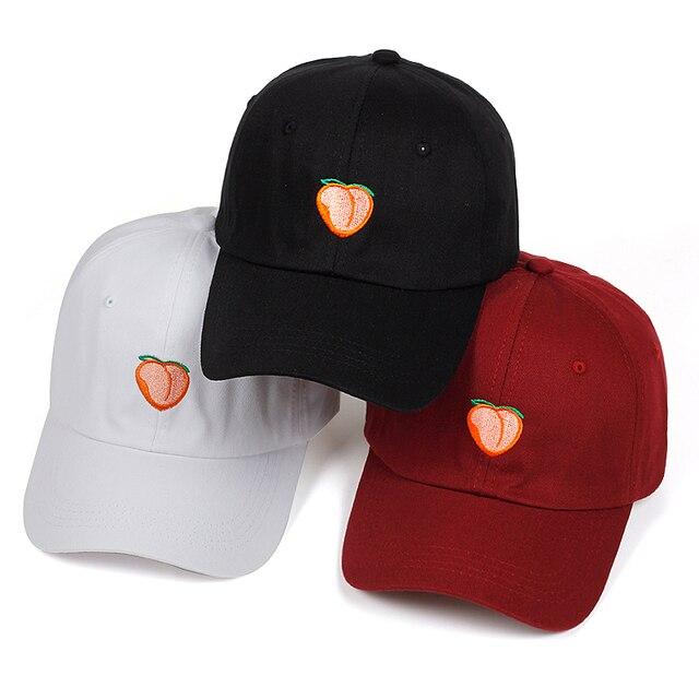 2018 New Dad Hat Leisure Fresh Fruit Cap Embroidery Hat Peach Baseball Cap  Women s cotton Hip hop snapback Baseball Cap hats 2f1c092a8d6