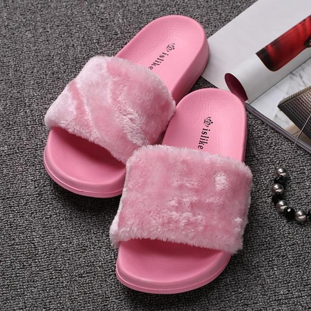 brand designer women fur slides winter warm fur shoes woman pink fur