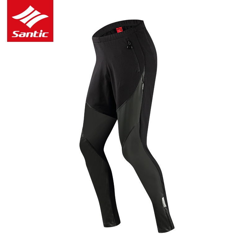 Santic Men Winter Cycling Pants PU Windproof Warm Mountain Road Bike Pants Fleece Thermal Bicycle Long Pants Bermuda Ciclismo santic men winter cycling pants thermal fleece windproof mtb road bike pants 4d padded bicycle long pants cycling clothes