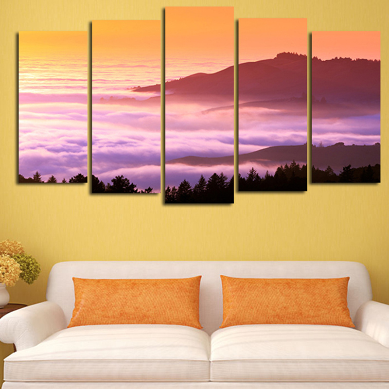 2016 Wall Paintings Canvas Art Picture Pink Cloud Sunset Oversize ...