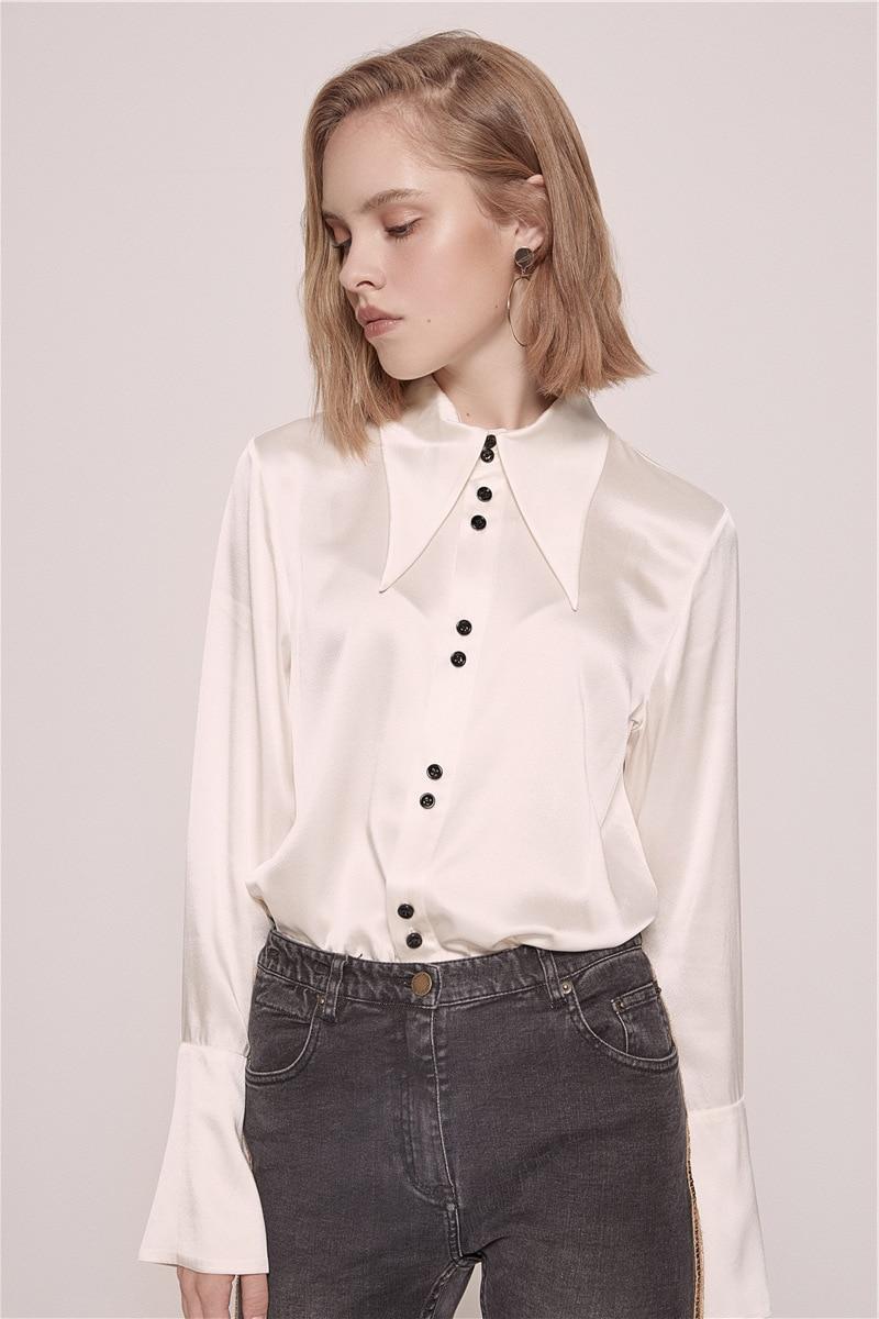 Acampanada Manga Mujeres Tops 2018 Mujer Vuelto De Blanco White Nueva Cuello Vintage Seda Camisa Blusa Moda Getsring qT0wtt