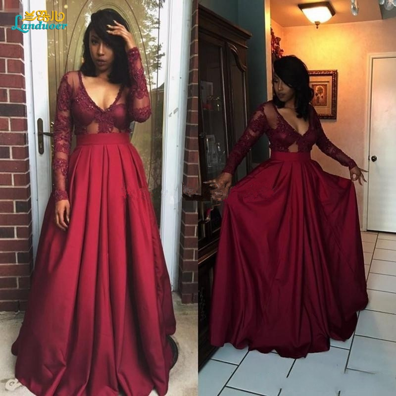 Burgundy Long Sleeve Prom Dress