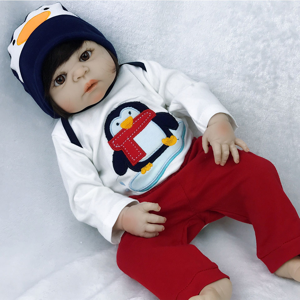 Real Like Cute Penguin Boy 23'' Realistic Reborn Dolls Full Vinyl Body Reborn baby Doll Toys Handmade Alive bebe Birthday Gift пинетки митенки blue penguin puku