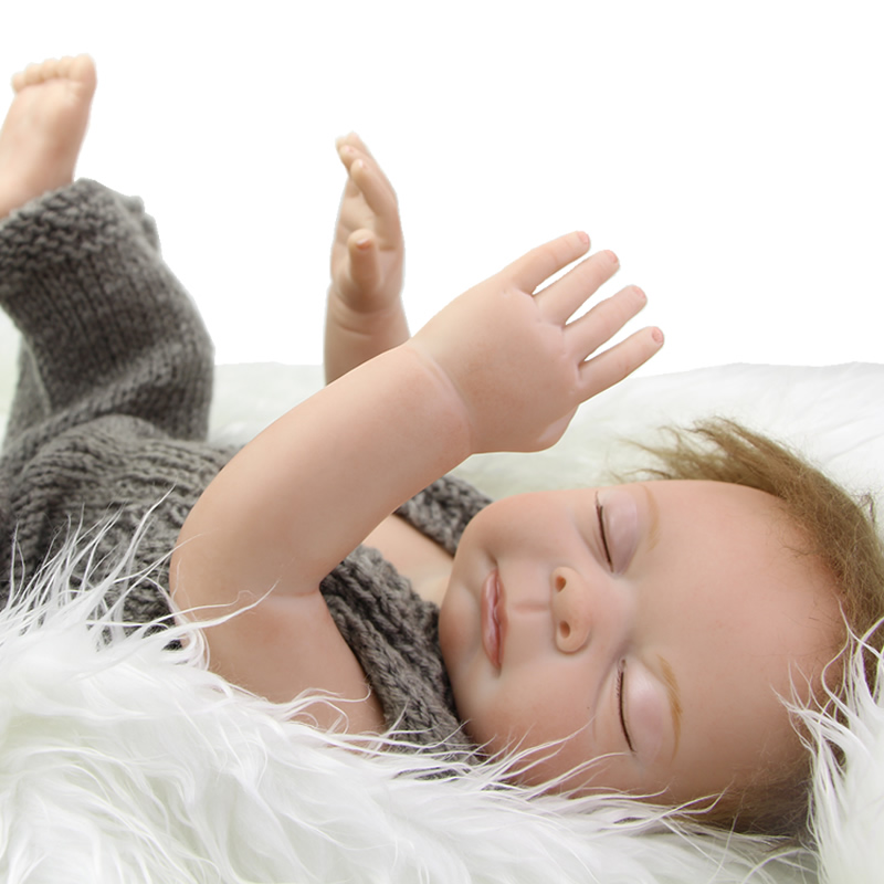 Full Silicone Vinyl Reborn Baby Dolls Sleeping  20 Inch Newborn Babies Boy Waterproof Lifelike Alive Baby Toy Kids Birthday Gift full silicone reborn dolls