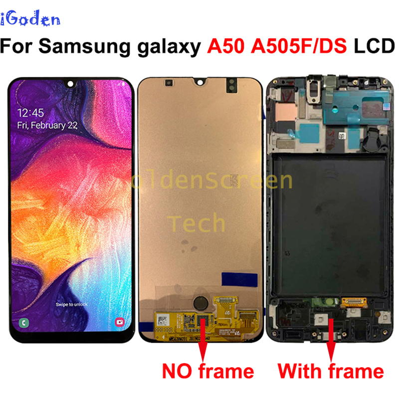 For Samsung Galaxy A50 SM A505FN/DS A505F/DS A505 LCD Display Touch Screen Digitizer Assembly With Frame For Samsung A50 lcd