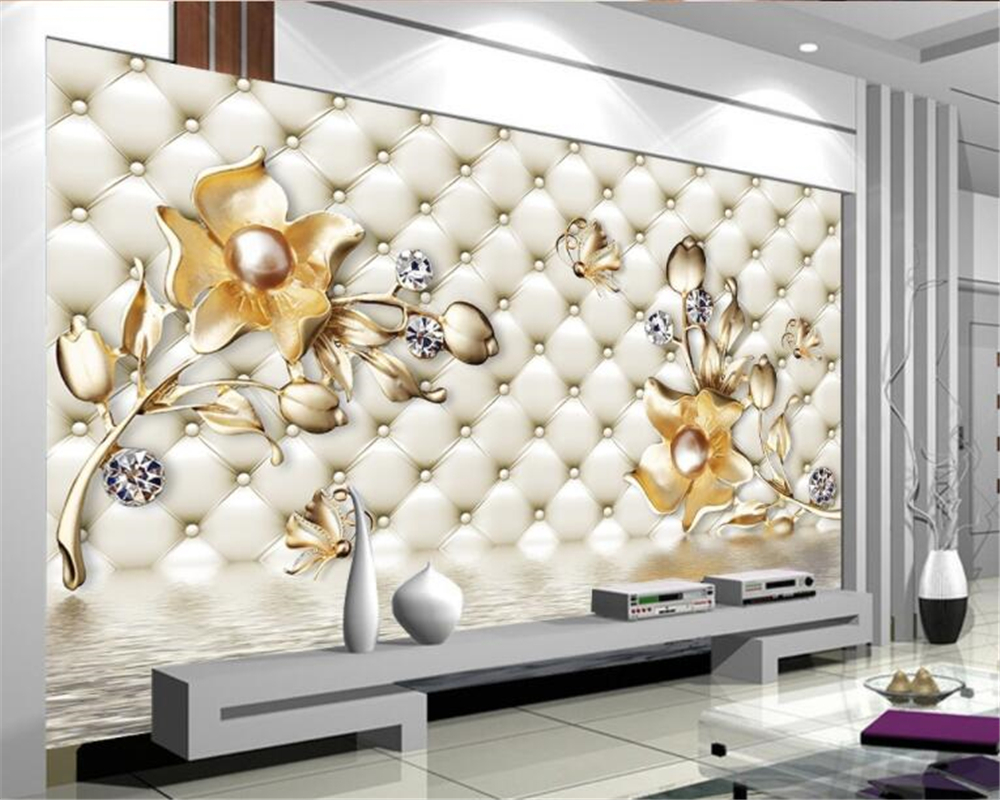 Beibehang Custom wallpaper 3d luxury soft package golden flower water reflection jewelry wall wallpaper for walls 3 d behang