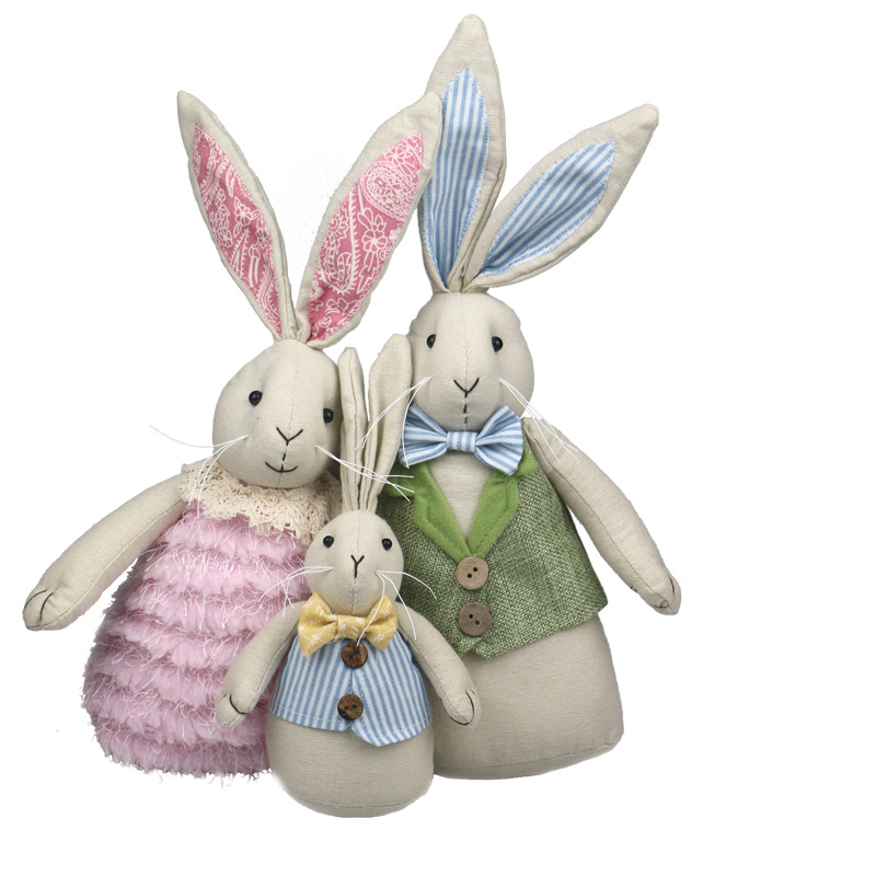 все цены на A family of rabbit baby cute plush doll rabbit doll Easter gift children's gift soft bunny plush doll cute toy animal plush
