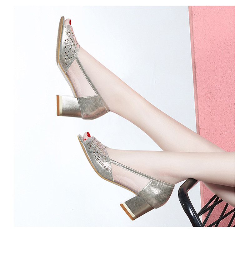 or Ouvert 2018 Bling Talons Pompes Bureau Creusent Robe Chaussures Femmes Zapatos Été Mujer Dropshipping Dehors Noir Femme Sandales Bout Dames YfqHBnxw
