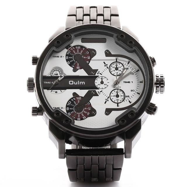 Homens Liga Relógio De Metal Estilo Do Exército Oulm Marca de Luxo DZ Tamanho grande Dual Time Relógio de Pulso Relogio Masculino Relógio Ocasional Militar Masculino