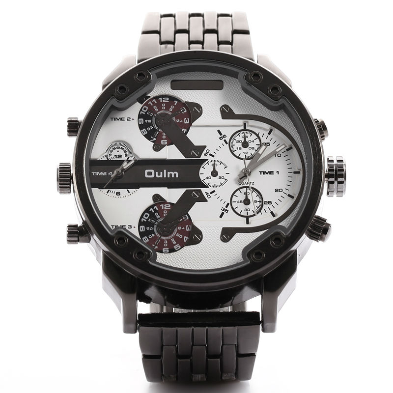 Oulm Luxury Brand DZ Style Men Alloy Metal Watch Army Big Size Dual Time Male Casual