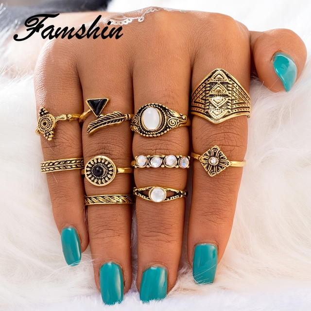 FAMSHIN Fashion 10PCS/Set Leaf Stone Midi Ring Sets New 2017 Vintage Crystal Opal Knuckle Rings for Women Anillos Mujer Jewelry
