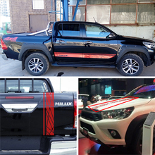 где купить side door tailgate hood and bed laser radiation line 4x4 racing styling graphic car sticker kits for TOYOTA HILUX по лучшей цене
