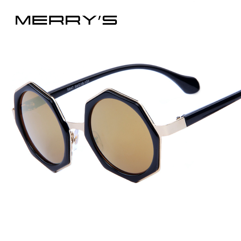 MERRY'S Brand Design Women Round Sunglasses Fashion Butterfly Sunglasses Rhombus Frame Mirror Lens UV400