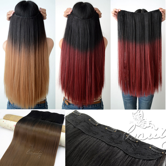 Hot 24 Long Hair Extension Dip Dye Ombre Hair Weft Clip In