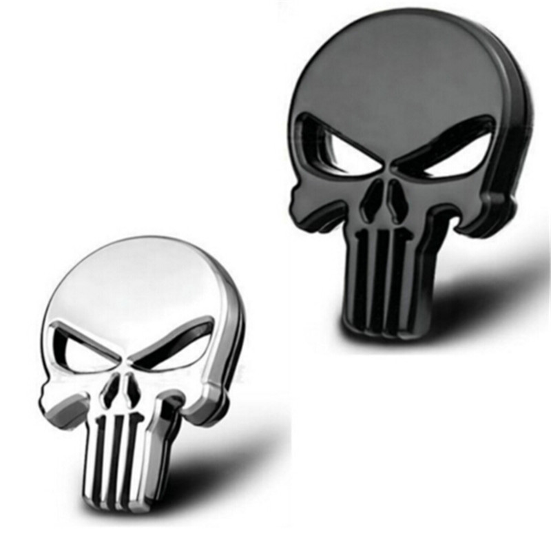 2x Skull 3D Metal Car Motorcycle Gas Tank Tailgate Emblem Badges Decals Stickers