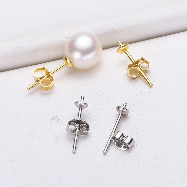 5pcs Sterling Silver Pearls Design Ear Pin Studs DIY Earring Hooks Gold