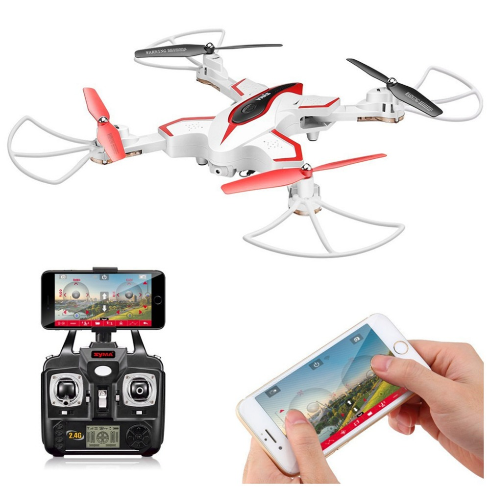 Syma X56W Foldable Quadcopter With HD Wifi Camera and Live Video 4 Channel Headless Mode Altitude Hold RC Drone-White jjrc h39wh h39 foldable rc quadcopter with 720p wifi hd camera altitude hold headless mode 3d flip app control rc drone
