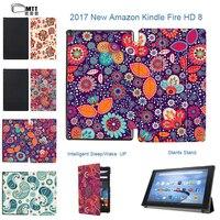 MTT Çiçek 2017 Amazon kindle yangın hd 8 için kapak cilt Alexa ile yangın 8 '' tablet ekran tablet Standı PU deri kapak vaka