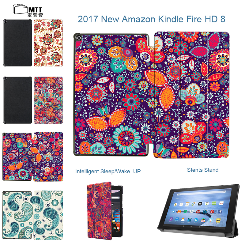 MTT Floral cover skin for 2017 Amazon kindle fire hd 8 tablet with Alexa fire 8'' display tablet Stand PU leather cover case cover case for huawei mediapad m3 youth lite 8 cpn w09 cpn al00 8 tablet protective cover skin free stylus free film