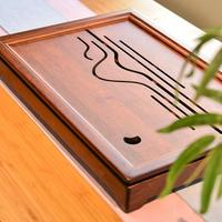 KingTeaMall Bamboo Tea Tray with Water Tank Drainage Outlet for Chinese Gongfu Cha Saucers,Teawares, Teasets, Teatools, Gifts.