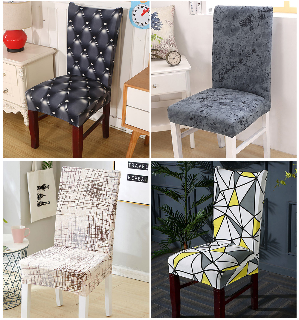1246PCS Geometry Spandex Chair Cover Dining Washable slipcover for seat Elastic Kitchen Chair Covers Stretch Furniture Covers (6)
