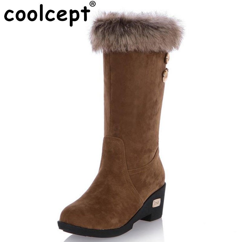 Coolcept women flat long ankle boots winter snow boot quality round toe cotton footwear warm bota shoes P19809 size 34-43 women real genuine leather flat ankle boots cotton snow half short bota quality warm winter boot footwear shoes r7603 size 34 40