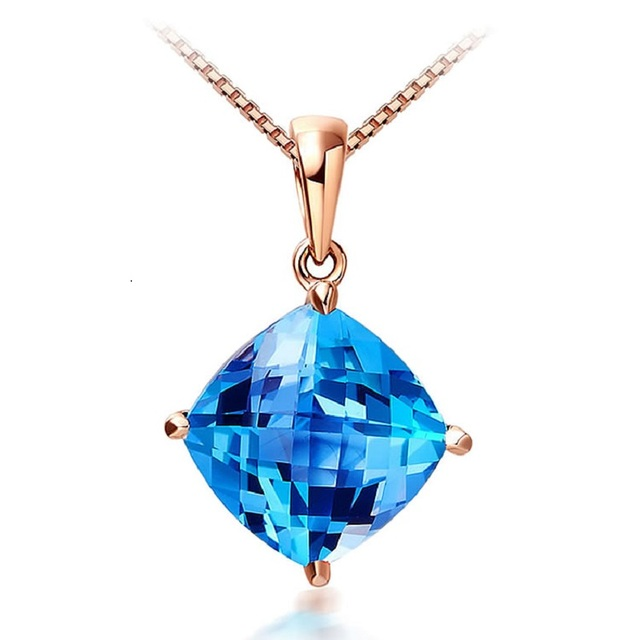 Danki Brand Rose Gold Plated Jewelry Natural Blue Crystal Pendant Women's Fashion Romantic 925 Sterling Silver Pendant Necklace