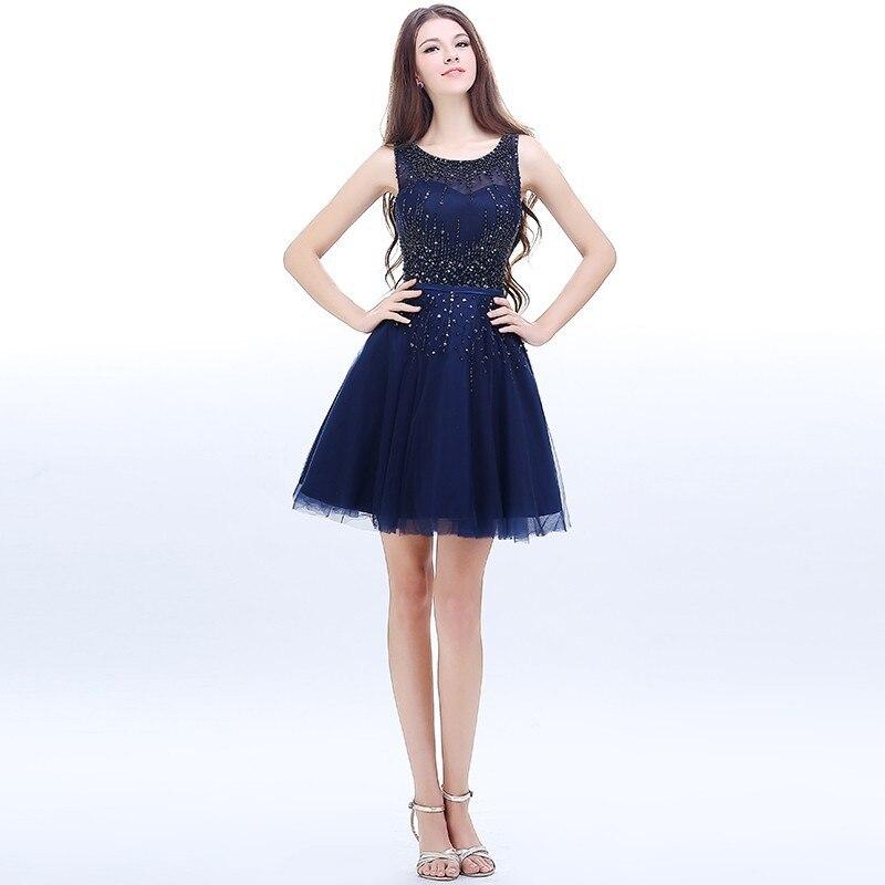 Azul marino Corto Vestido de Fiesta Sin Mangas Hundiendo Volver Rebordear Tulle Adolescentes Gasa Vestido Semi