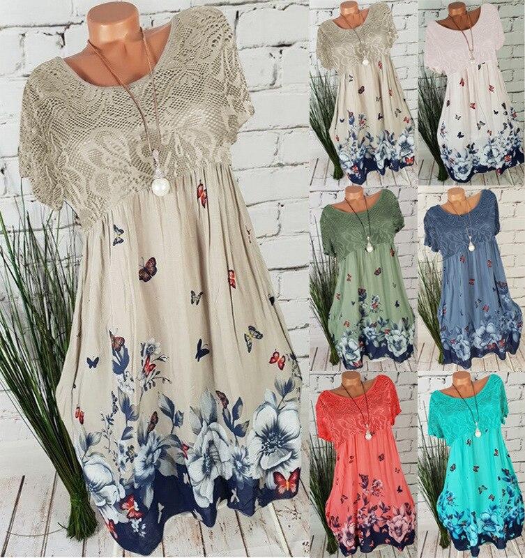 Large size women's lace dress 2019 summer new print openwork dress 5xl