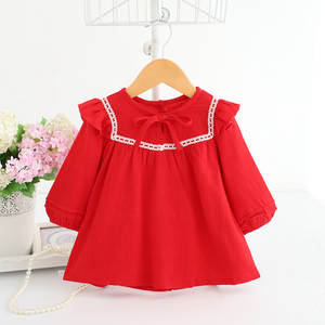 Baby Girls Clothing Baby Shirts Girls Tops Long Sleeve Autumn Cotton Christmas Baby Girl Clothes Red Pink Navy 0-2Y