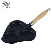 TTLIFE High Quality Cast Iron Egg Steak Hamburg Dumplings Pot Mini Device Frying Pan 3 Holes
