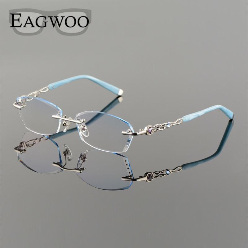 Titanium Alloy Eyeglasses Women Rimless Prescription