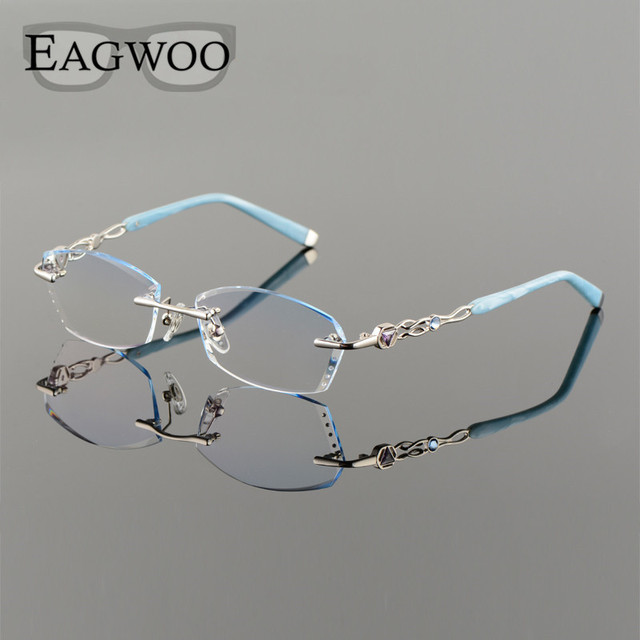 b7e93bf65f Titanium Alloy Eyeglasses Women Rimless Prescription Reading Myopia  Progressive Glasses Blue Spectacle with Color lenses 258101