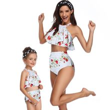 flounce mother/mom/mum daughter swimsuits family look mommy and me swimwear matching outfits high waist bikini dresses clothes(Hong Kong,China)