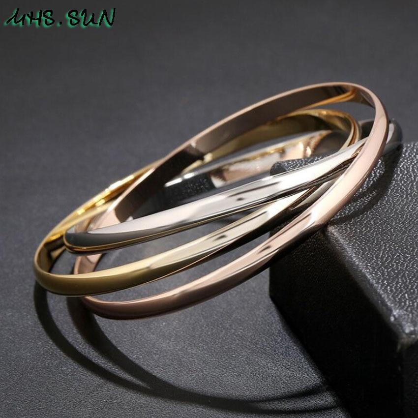 1,CB001,$5.85,1PCLot Fashion Design Women 3 Layers Bangle Bracelets For Girls Exaggerated European All-Match Jewelry Female Bangle