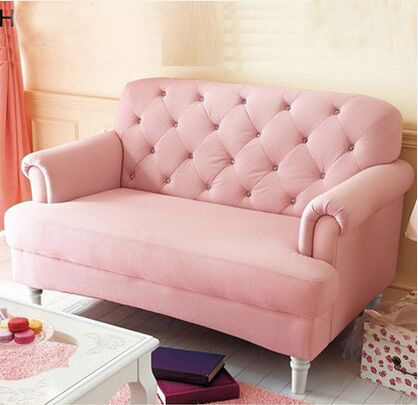European style pink princess relaxation sectional sofa fabric 2 seat ...