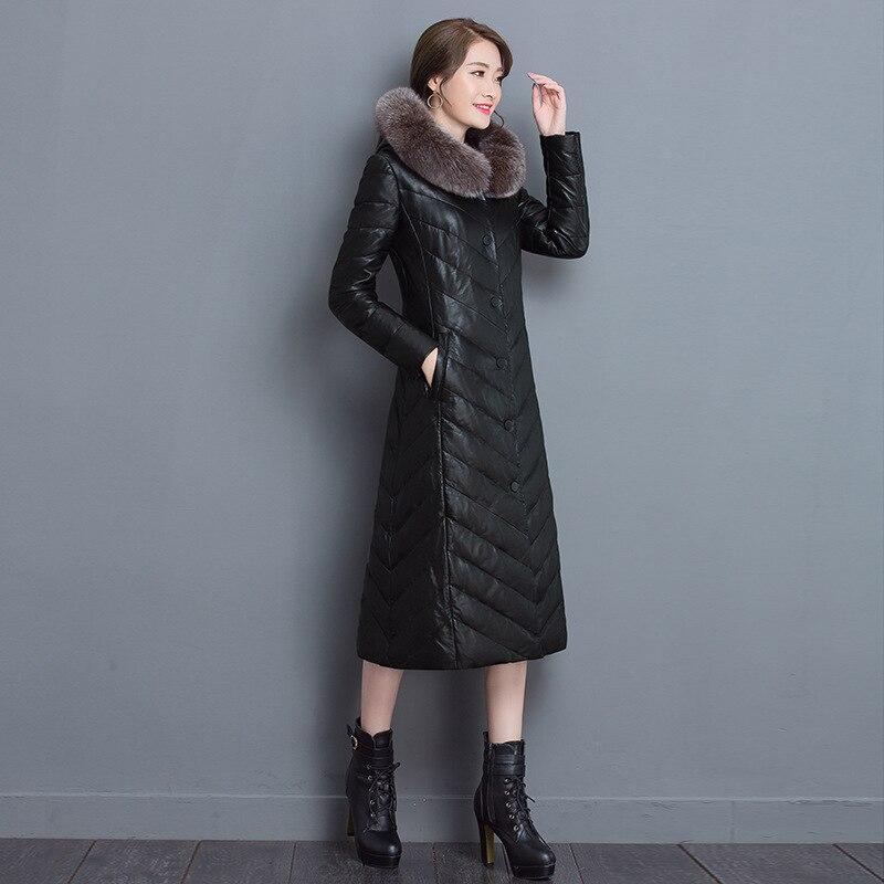 2018 Capuchon Moutons Long Imitation Bordure À Manteau Pu Sllim Fourrure Faux Black Cuir Outwear Avec En Femmes Renard De gvb76YIfy
