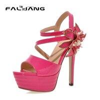 Plus Size 11 12 Black Summer Peep Toe Women Sandals Thin High Heel Woman Pumps Flower
