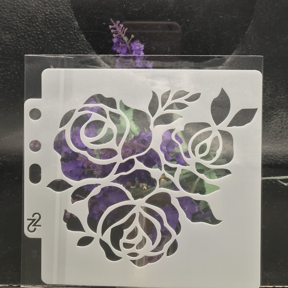 13cm Rose Flower DIY Layering Stencils Wall Painting Scrapbook Coloring Embossing Album Decorative Card Template S15
