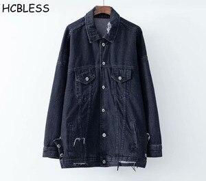 Женская джинсовая куртка HCBLESS, новая осенняя Свободная куртка с длинными вырезами, 2018