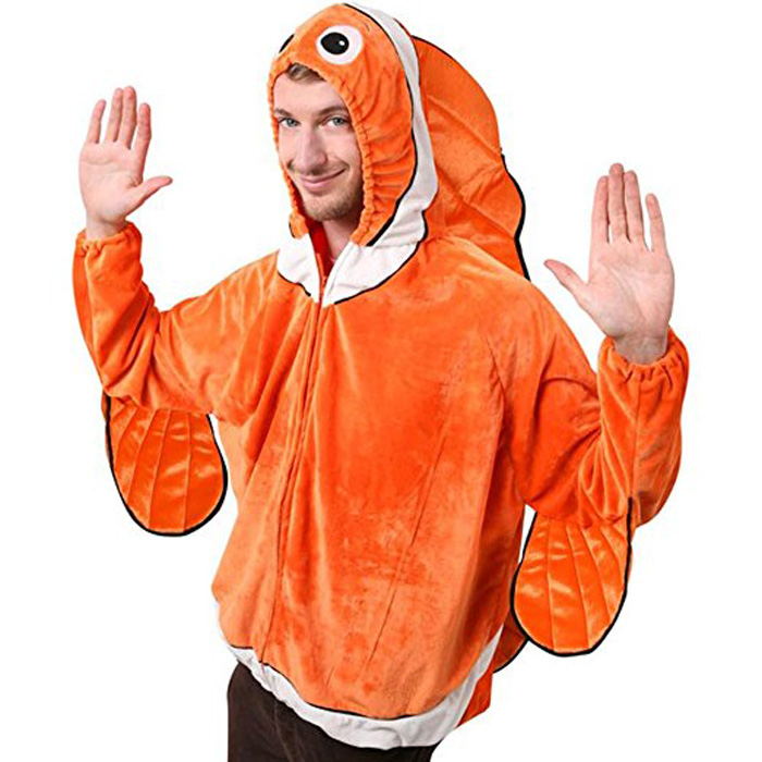 Adult Clown Fish Nemo Jacket Costume Adult Marine Animal Costumes Man and Woman Ocean Fish Halloween Party Costume