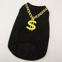 Pet Vest Clothes Gold Necklace T-shirts