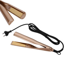 Высокое качество Утюг Позолоченные Титан пластины выпрямитель для волос 110 В до 240 В US/UK/EU