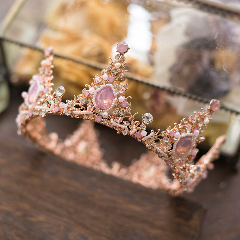 Hand Made Bridal Crystal Crown Fashion Women Wedding Tiaras Hair Accessory Luxury Pink Rhinestone Hair Crown