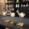 Di lusso di Rame Figurine Gru Della Decorazione di Arte di Cristallo Artigianato Lavorazione Figurine Art Marmo Moderno Della Decorazione Della Casa di Ornamento