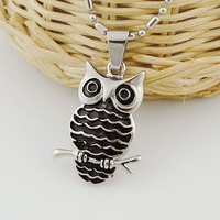 Stainless Steel Animal Pendant Silver Black Owl Necklace 2014 Personalized Fashion Jewelry For Men Women Wholesale