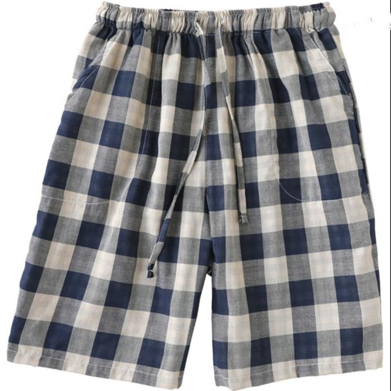 Mens sleep pants short Cotton gauze Plaid Loose Mens pants Sleep Bottoms
