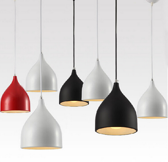 modern brief white/black/red pendant lights led e27 aluminum creative cup trumpet Pendant Lamp for living room dining room 1805 free shipping 30cm modern aluminum hemisphere pendant lights brief black white red dinning lighting pendant light