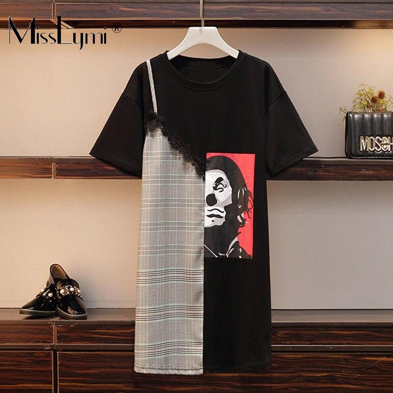 XL-5XL grande taille femmes lâche décontracté t-shirt robe été 2019 Streetwear mode imprimé coton Patchwork dentelle Crochet robe à carreaux