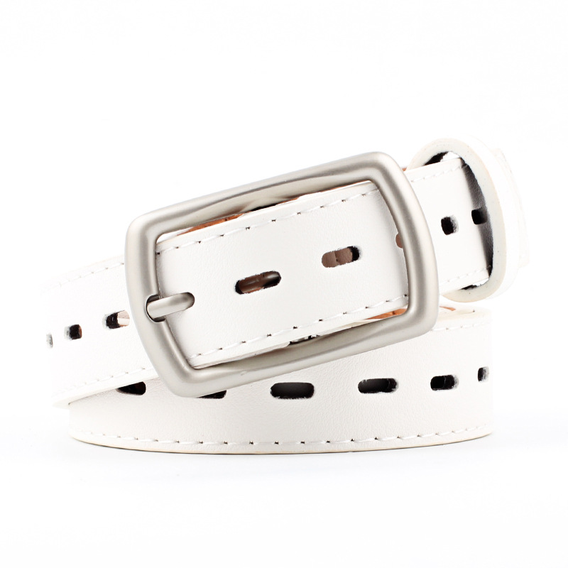 2018 New Designer Western Wide Black White Red Leather Belt Waistband Female Silver Pin Buckle Trouser Strap Belts for Women